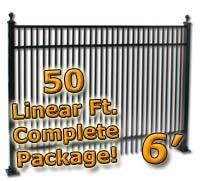 50 ft Complete Double Picket Residential Aluminum Fence 6' High Fencing Package