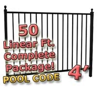 50 ft Complete Pool Code Residential Aluminum Fence 4' High Fencing Package