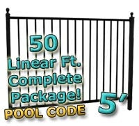 50 ft Complete Pool Code Residential Aluminum Fence 5' High Fencing Package