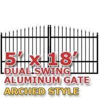 5' x 18' Residential Dual Aluminum Arch Style Driveway Gate