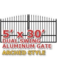 5' x 30' Residential Dual Aluminum Arch Style Driveway Gate