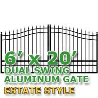 6' x 20' Residential Dual Aluminum Estate Style Driveway Gate