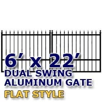 6' x 22' Residential Dual Aluminum Flat Style Driveway Gate