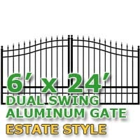 6' x 24' Residential Dual Aluminum Estate Style Driveway Gate