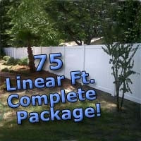 75 ft Complete Solid PVC Vinyl Privacy Fence 6' Wide Fencing Package