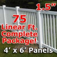 "75 ft Complete Solid PVC Vinyl Closed Top Picket Fencing Package - 4' x 6' Fence Panels w/ 1.5"" Spacing"
