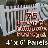 75 ft Complete Solid PVC Vinyl Open Top Picket Fencing Package - 4' x 6' Fence Panels w/ 3