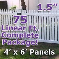 "75 ft Complete Solid PVC Vinyl Open Top Straight Picket Fencing Package - 4' x 6' Fence Panels w/ 1.5"" Spacing"