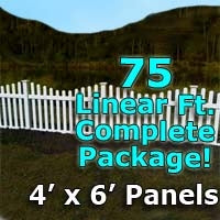 75 ft Complete Solid PVC Vinyl Open Top Scallop Picket Fencing Package - 4' x 6' Fence Panels w/ 3