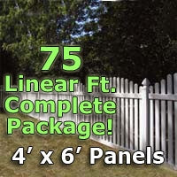 "75 ft Complete Solid PVC Vinyl Open Top Arched Picket Fencing Package - 4' x 6' Fence Panels w/ 3"" Spacing"