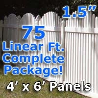 75 ft Complete Solid PVC Vinyl Open Top Arch Picket Fencing Package - 4' x 6' Fence Panels w/ 1.5