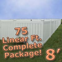 75 ft Complete Solid PVC Vinyl Semi-Privacy Fence 8' Wide Fencing Package