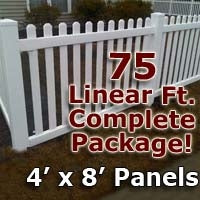 "75 ft Complete Solid PVC Vinyl Open Top Picket Fencing Package - 4' x 8' Fence Panels w/ 3"" Spacing"