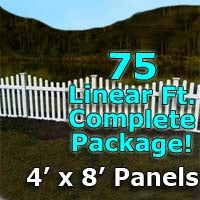 75 ft Complete Solid PVC Vinyl Open Top Scallop Picket Fencing Package - 4' x 8' Fence Panels w/ 3