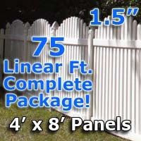 75 ft Complete Solid PVC Vinyl Open Top Arch Picket Fencing Package - 4' x 8' Fence Panels w/ 1.5