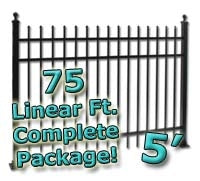 75 ft Complete Spear Top Residential Aluminum Fence 5' High Fencing Package