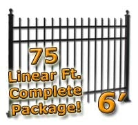 75 ft Complete Spear Top Residential Aluminum Fence 6' High Fencing Package