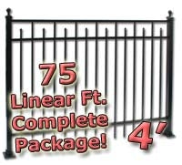 75 ft Complete Spear Smooth Top Residential Aluminum Fence 4' High Fencing Package