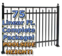 "75 ft Complete Spear Smooth Top Residential Aluminum Fence 54"" Pool Fencing Package"