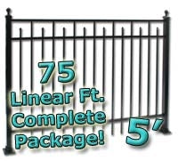 75 ft Complete Spear Smooth Top Residential Aluminum Fence 5' High Fencing Package