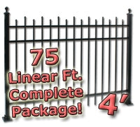 75 ft Complete Staggered Pickets Residential Aluminum Fence 4' High Fencing Package