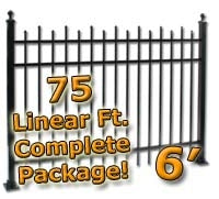75 ft Complete Staggered Pickets Residential Aluminum Fence 6' High Fencing Package