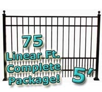 75 ft Complete Puppy Panel Residential Aluminum Fence 5' High Fencing Package