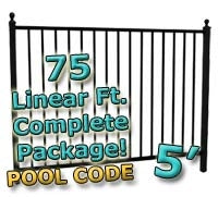 75 ft Complete Pool Code Residential Aluminum Fence 5' High Fencing Package