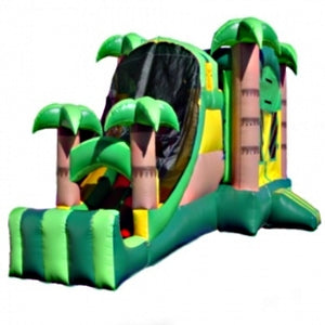 Commercial Grade Inflatable 3in1 Tropical Slide Combo Bouncy House