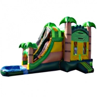 Commercial Grade Inflatable 3in1 Tropical Water Slide Combo Bouncy House