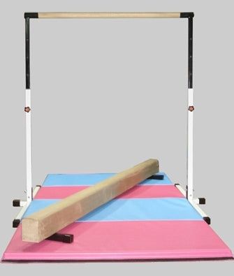 High Quality 3'-5' White Adjustable Bar with 8' Tan Beam and 8' Folding Mat