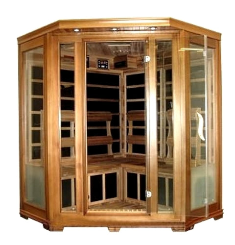 Four Person Cedar Carbon Fiber FAR Infrared FIR Sauna With AM/FM Radio, CD Player, and Stereo Speakers