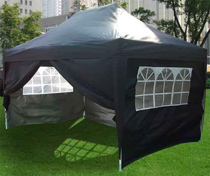 Heavy Duty 10' x 15' Black Double Pyramid-Roofed Pop Up Canopy Tent