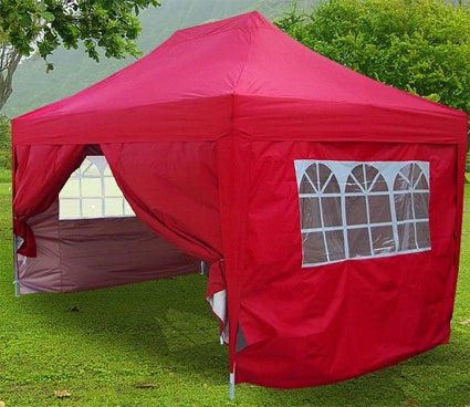 Heavy Duty 10' x 15' Red Double Pyramid-Roofed Pop Up Canopy Tent