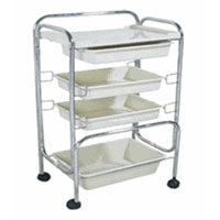 Four Level Metal Frame Trolley Cart with Plastic Trays