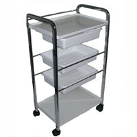 Five Level Metal Frame Trolley Cart with Plastic Trays
