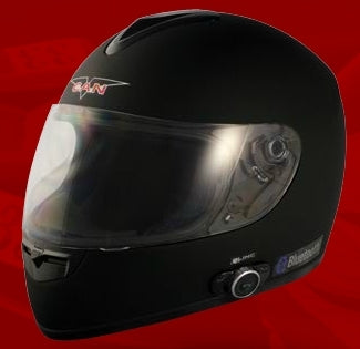 Adult Flat Black Full Face Motorcycle Helmet with Bluetooth (DOT Approved)