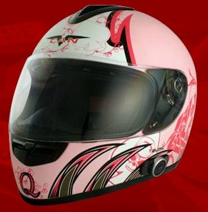 Adult Queen Pink Face Motorcycle Helmet with Bluetooth (DOT Approved)