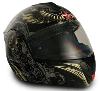 Adult Aviator Black Flip Up Motorcycle Helmet (DOT Approved)