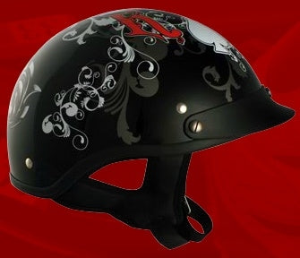 Adult All In Black Half Helmet Cruising Helmet (DOT Approved)