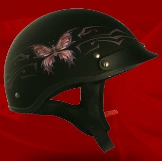 Adult Butterfly Flat Black Half Helmet Cruising Helmet (DOT Approved)