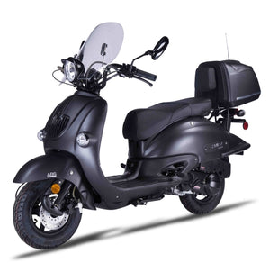 Znen 150cc 4 Stroke 8.5hp Gas Moped Scooter With USB Adapter & Alarm - T-H-BLACKOUT-California-Pickup