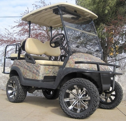 48V Real Tree Texture Leaf Club Car Precedent Lifted Electric Golf Cart