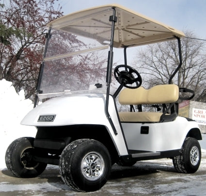 Pearl White 36V EZGO Golf Cart w/ SS Chrome Wheel Covers