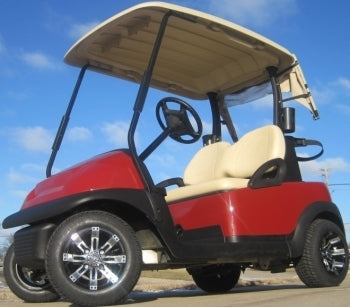 48V Maroon Club Car Precedent Electric Golf Cart With Custom Rims And Tires