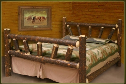 Brand New Rustic Furniture Bark On Lodge Pole Pine Log Bed