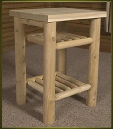 Brand New Rustic Furniture Nightstand with Two Shelves