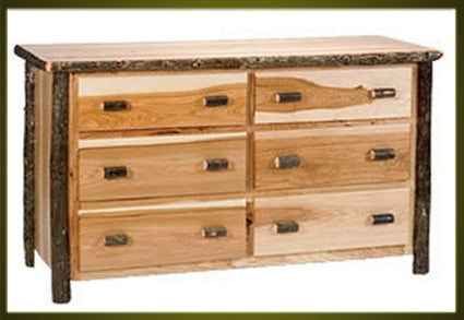 Brand New Rustic Furniture Hickory 6 Drawer Dresser