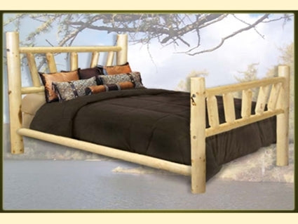 Brand New GoodTimber Rustic Furniture Log Bed with Sunburst Pattern