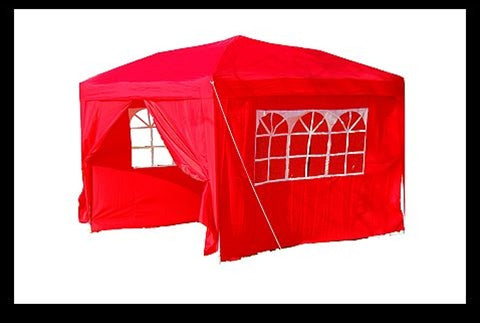 10x10 Red Easy Set Pop Up Party Tent Canopy Gazebo